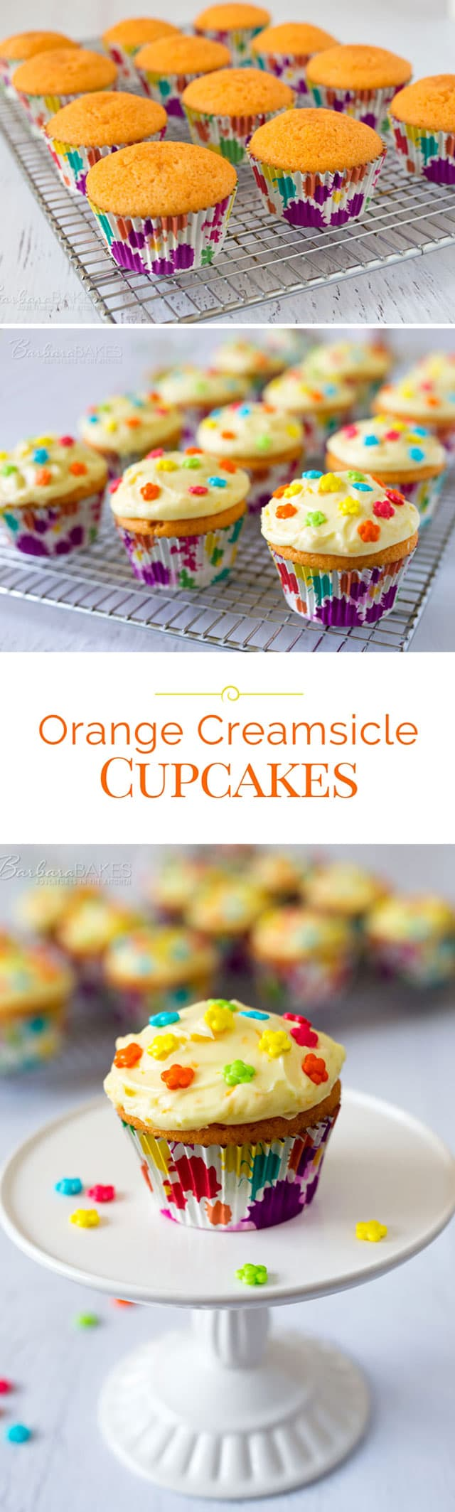 Orange Creamsicle Cupcakes with a fun orange soda cupcake frosted with a luscious, sweet orange cream cheese icing that I LOVED.