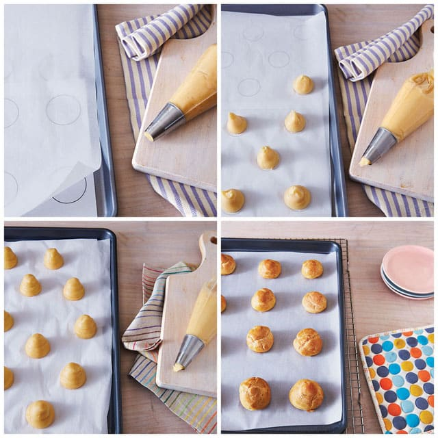 Piping Cream Puffs using a template from Simply Sweet Dream Puffs - printable templates available on Barbara Bakes.