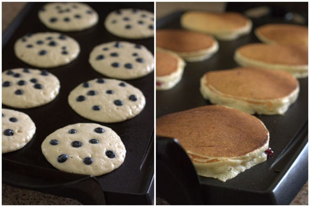 Making whole wheat lemon ricotta blueberry pancakes.