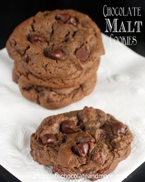 Chocolate Malt Cookies with Chocolate Chips from Chocolate Chocolate and More