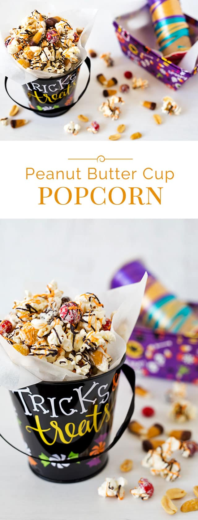 Fun Halloween Peanut Butter Cup Popcorn mixed with peanut butter cup candy corn, peanut butter M&Ms, and salted peanuts then coated with white chocolate and drizzled with orange and black candy melts.