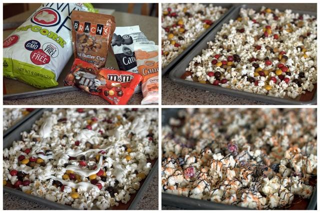 Making Halloween Peanut Butter Cup Popcorn