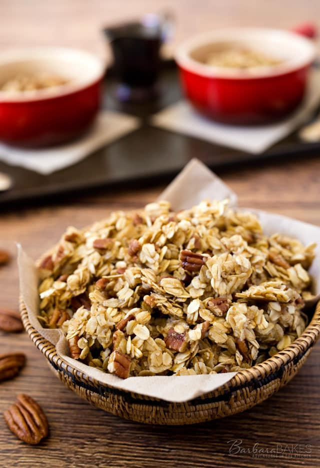 Pecan Pie Granola loaded with pecans and made with the sweet, rich ingredients you'd use when making pecan pie.