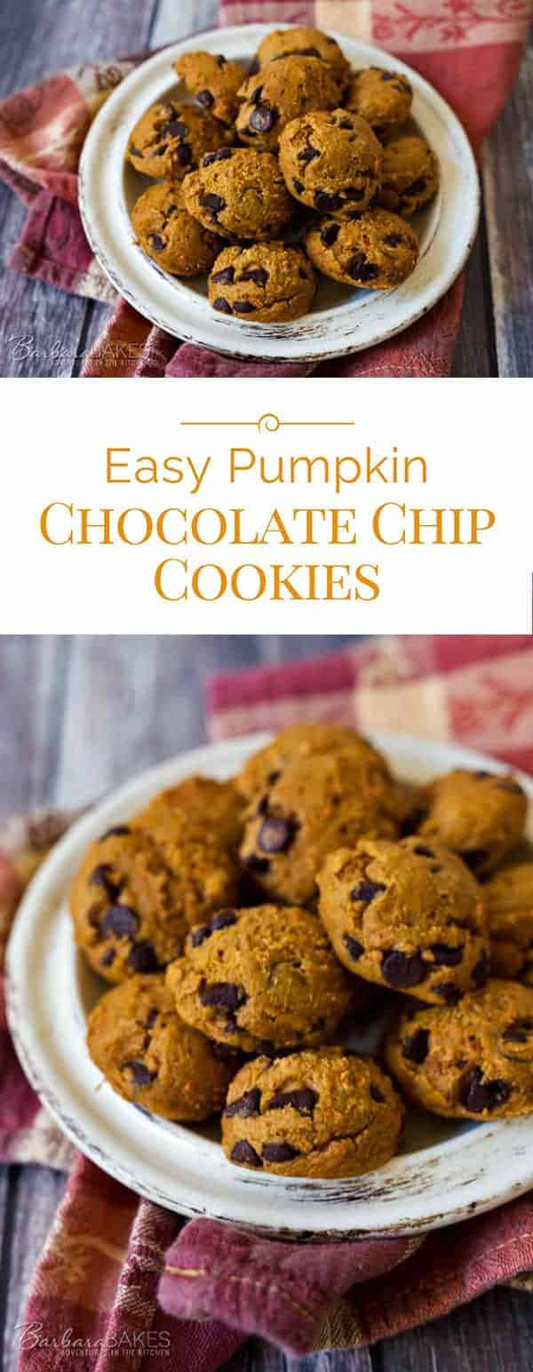 titled photo (and shown): Easy Pumpkin Chocolate Chip Cookies