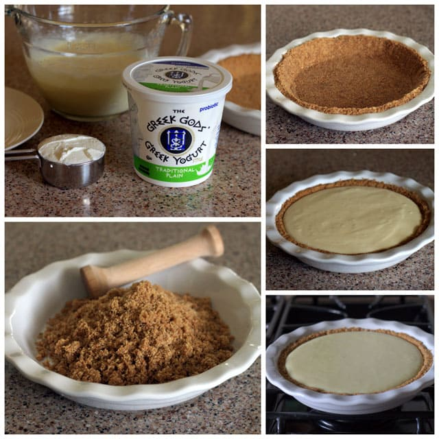 Making Creamy Lemon Yogurt Pie