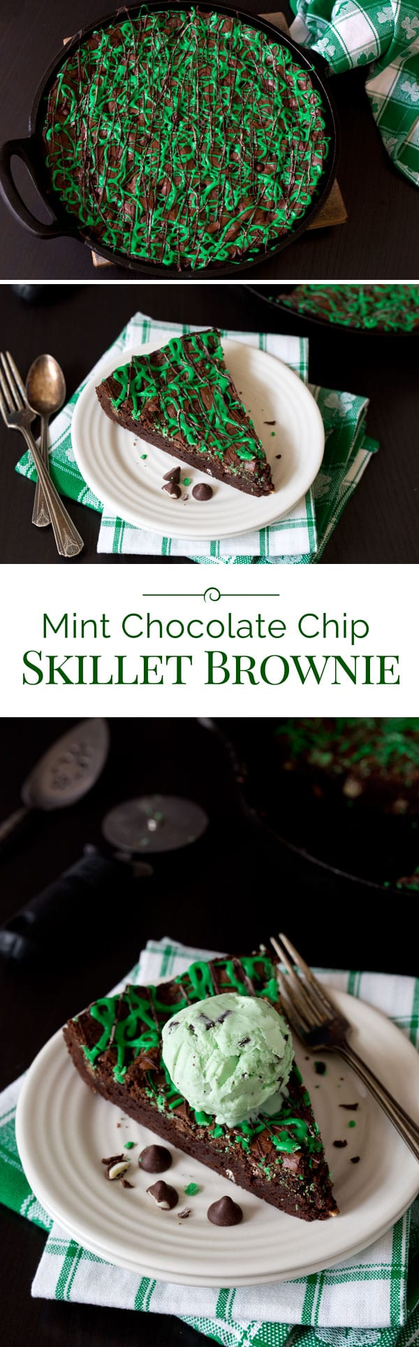 A rich, fudgy Mint Chocolate Chip Skillet Brownie studded with big chocolate chips with a creamy mint center, drizzled with green and chocolate icing, and served in wedges topped with ice cream.
