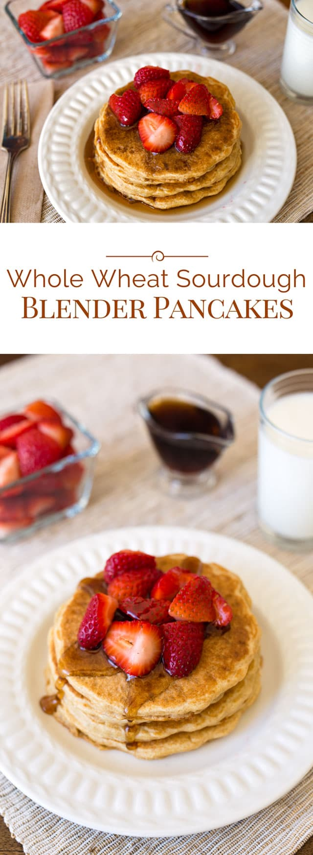 These Whole Wheat Sourdough Blender Pancakes are light and fluffy sourdough pancakes made with whole wheat pastry flour.