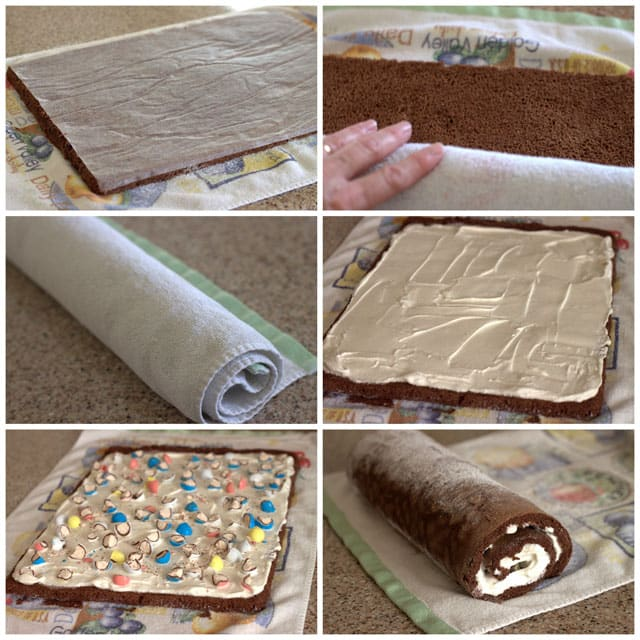 Making a Malted Milk Ball Ice Cream Cake Roll