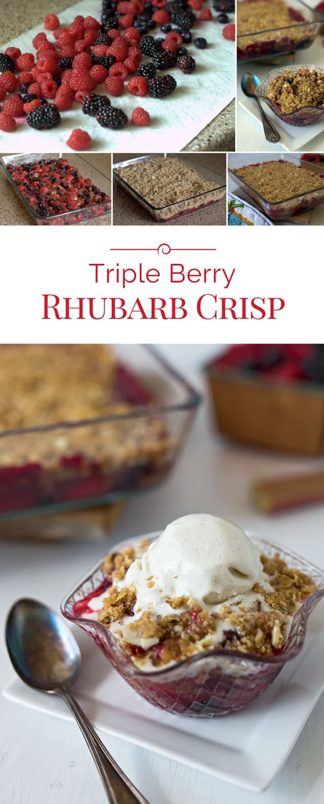 Sweet berries and tart rhubarb baked with a crisp almond, oat streusel topping, served piping hot with a scoop of vanilla ice cream.