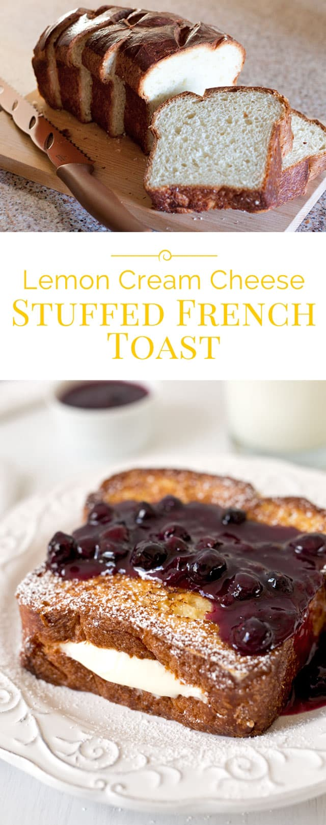 A decadent, heavenly delicious French toast filled with a light, lemony cream cheese filling. It's made with a fabulous brioche bread and served with a sweet, tart blueberry compote. You need to make this!