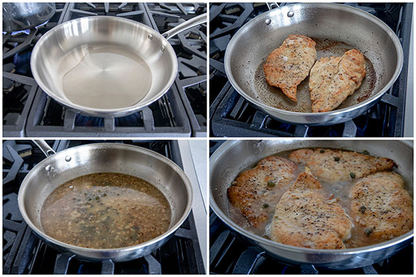 Frying chicken cutlets for Quick and Easy Chicken Piccata