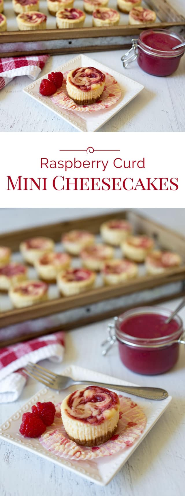 Rich, smooth, creamy cheesecakes swirled with tart raspberry curd in a fun mini size. These Raspberry Curd Mini Cheesecakes are a quick, easy-to-make stress-free dessert.