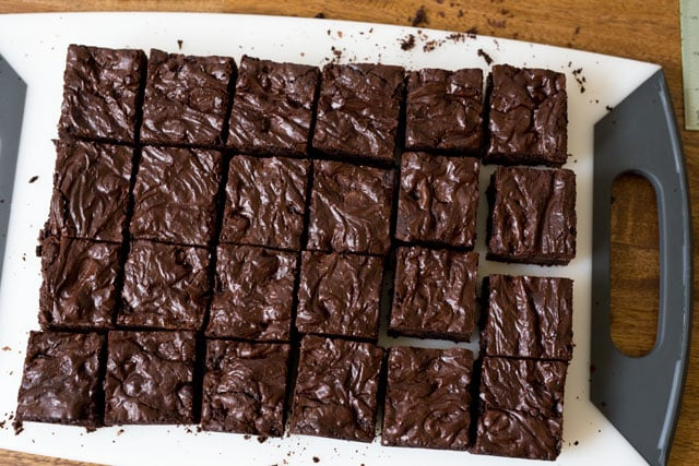 Cut brownies into 2 inch squares.