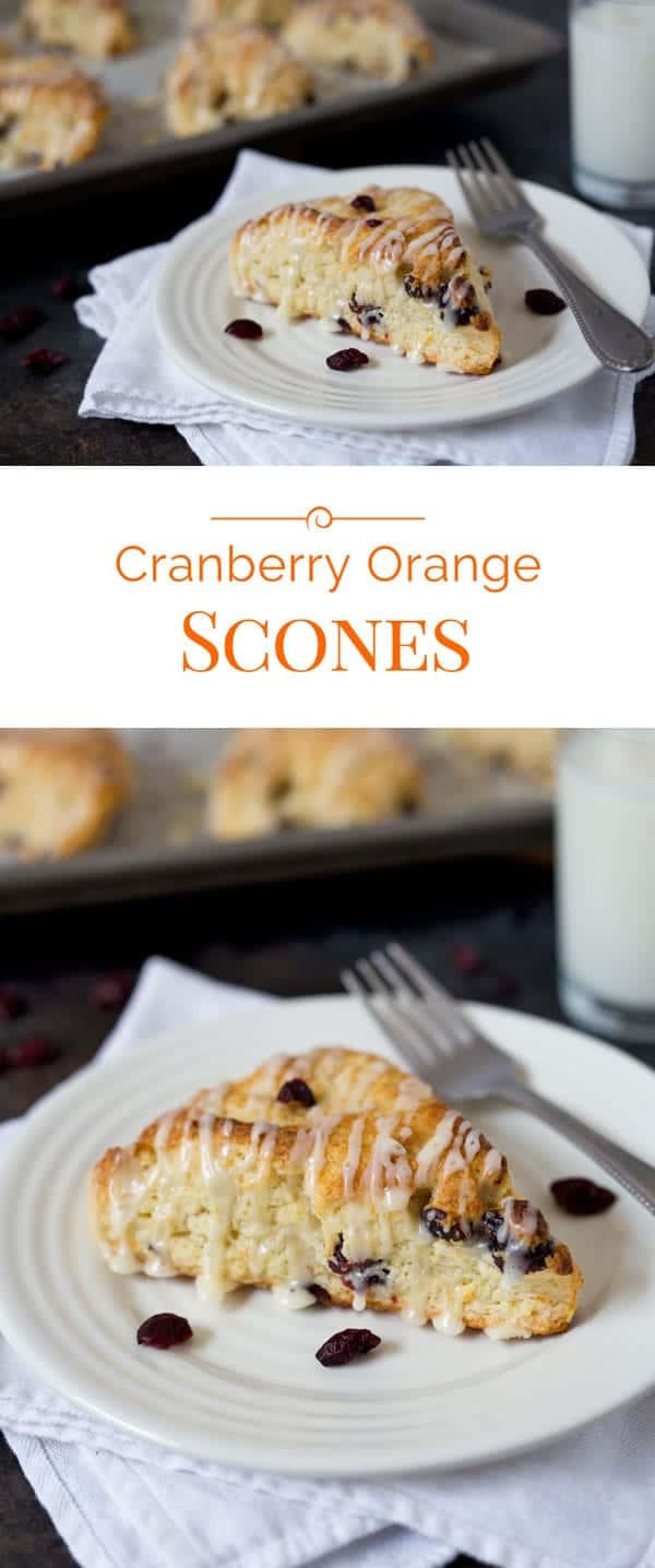 Golden brown, tender, lightly sweetened Cranberry Orange Scones with a pretty orange glaze drizzled on top