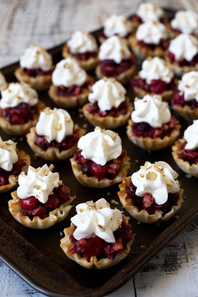 Luscious, easy-to-make Cranberry Pecan Pie Bites made from fresh cranberries and crunchy pecans in flaky, ready-made mini fillo shells finished with a pretty swirl of whipped cream.