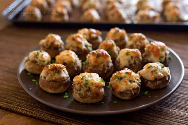 These 6 Cheese Italian Sausage Stuffed Mushrooms are a perfect addition to your next holiday party.