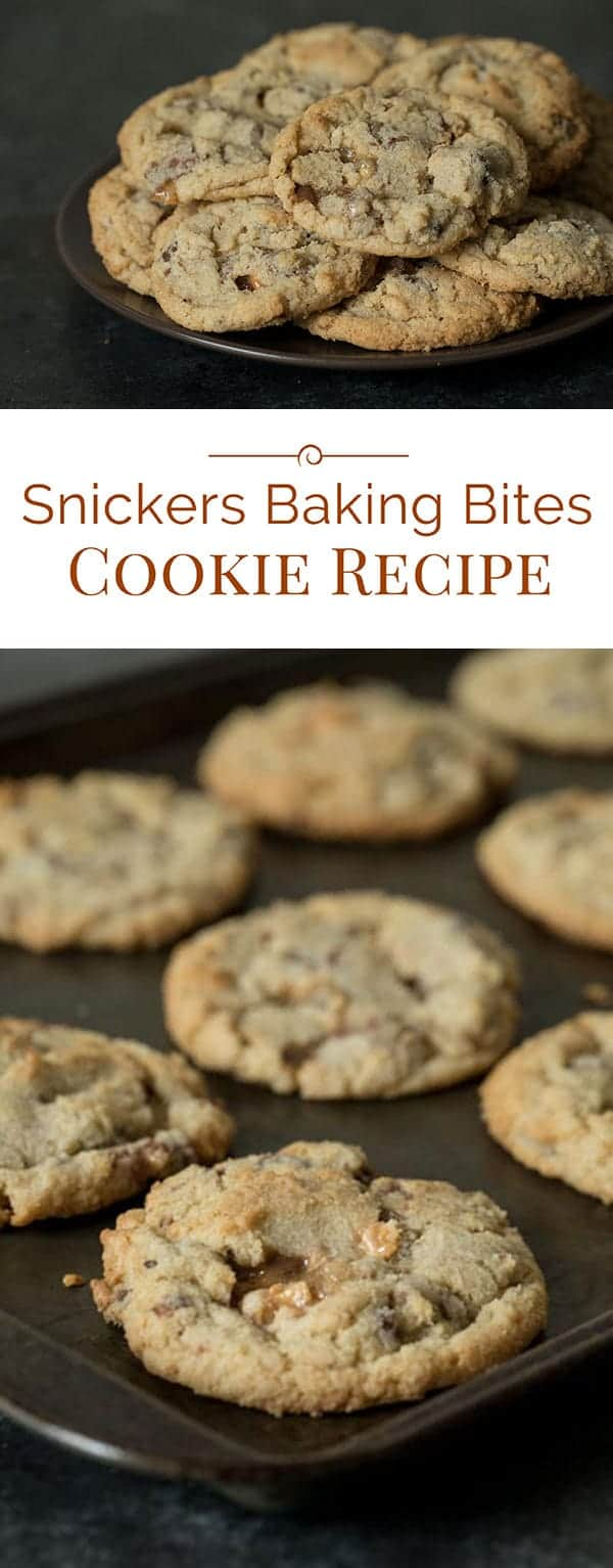 This Snickers Baking Bites Cookie Recipe is a must try if you're a Snickers lover. They're a chewy cookie with chocolate chips and big chunks of Snickers Baking Bites. The Snickers Baking Bites melt and get sticky, gooey caramely; adding an extra layer of deliciousness to an already great cookie.