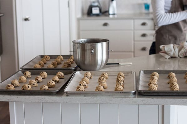 Snickers Baking Bites cookies on trays ready to bake.