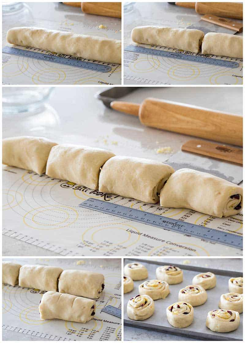Slicing Cranberry Citrus Cream Cheese Sweet Rolls