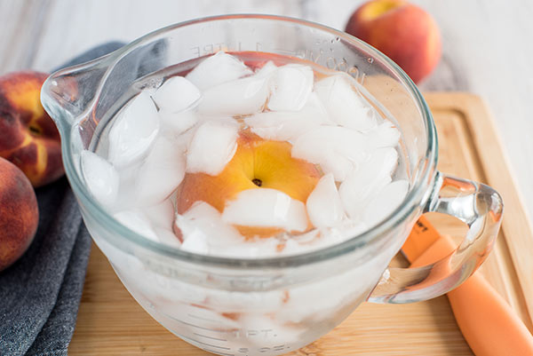 A peach in ice water