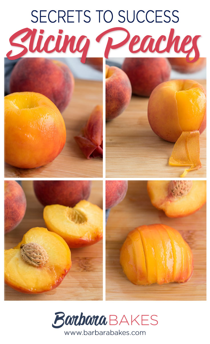 a step-by-step photo tutorial on how to slice peaches.