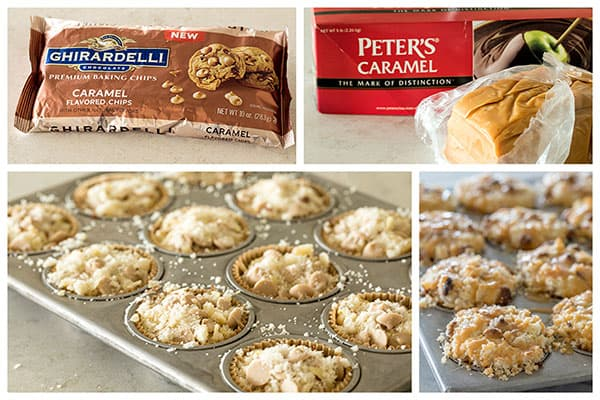 Making mini caramel coffee cakes with Ghirardelli Caramel Chips and Peter's Caramel.