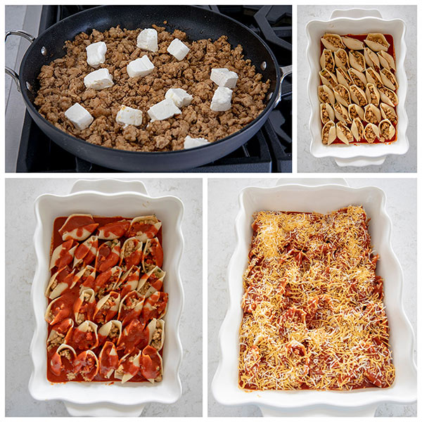 Four photos of the steps of making stuffed pasta shells