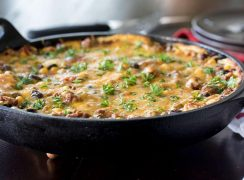 cheesy tamale pie recipe cooked in a skillet