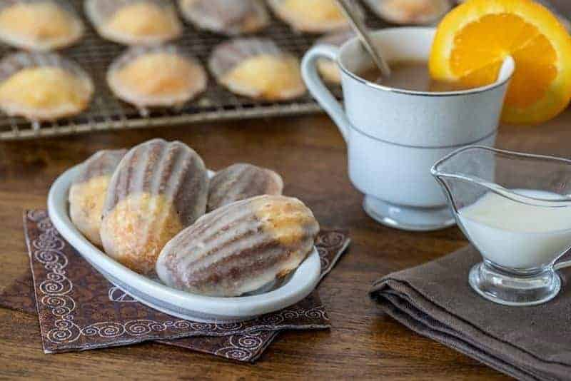 Glazed Chocolate Orange Marbled Madeleines