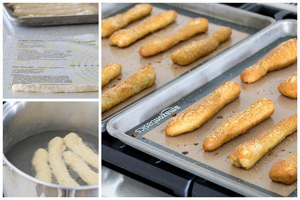 Baking Sweet Pretzels Sticks with Strawberry Cream Cheese Dip