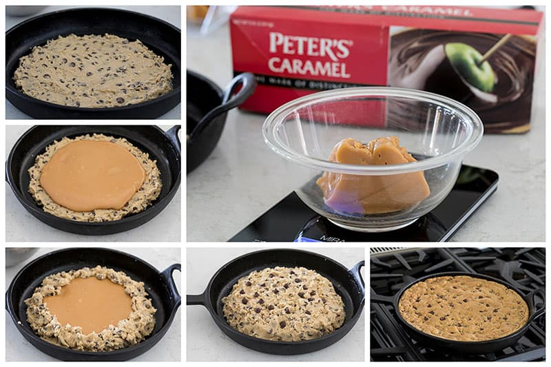 step by step photos showing how to make a Caramel Stuffed Chocolate Chip Skillet Cookie