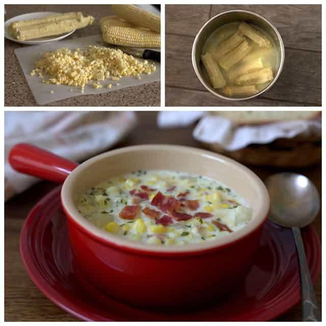 Fresh Corn Chowder made with corn cob broth.