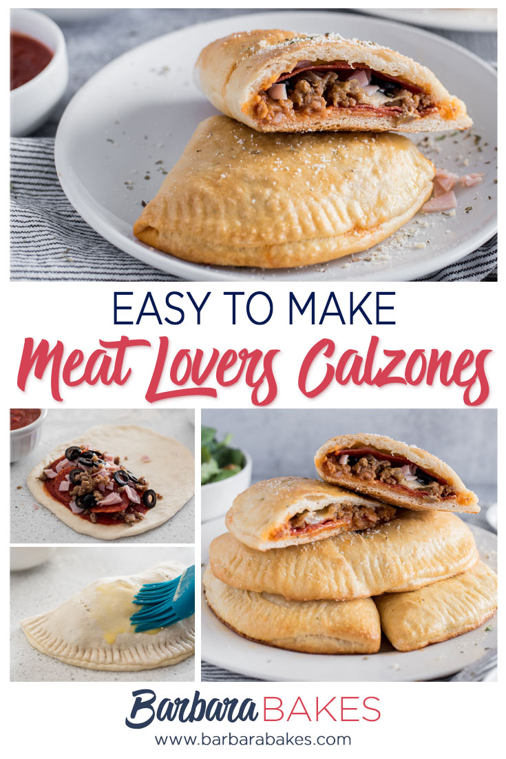 Collage of Making Meat Lovers Calzones