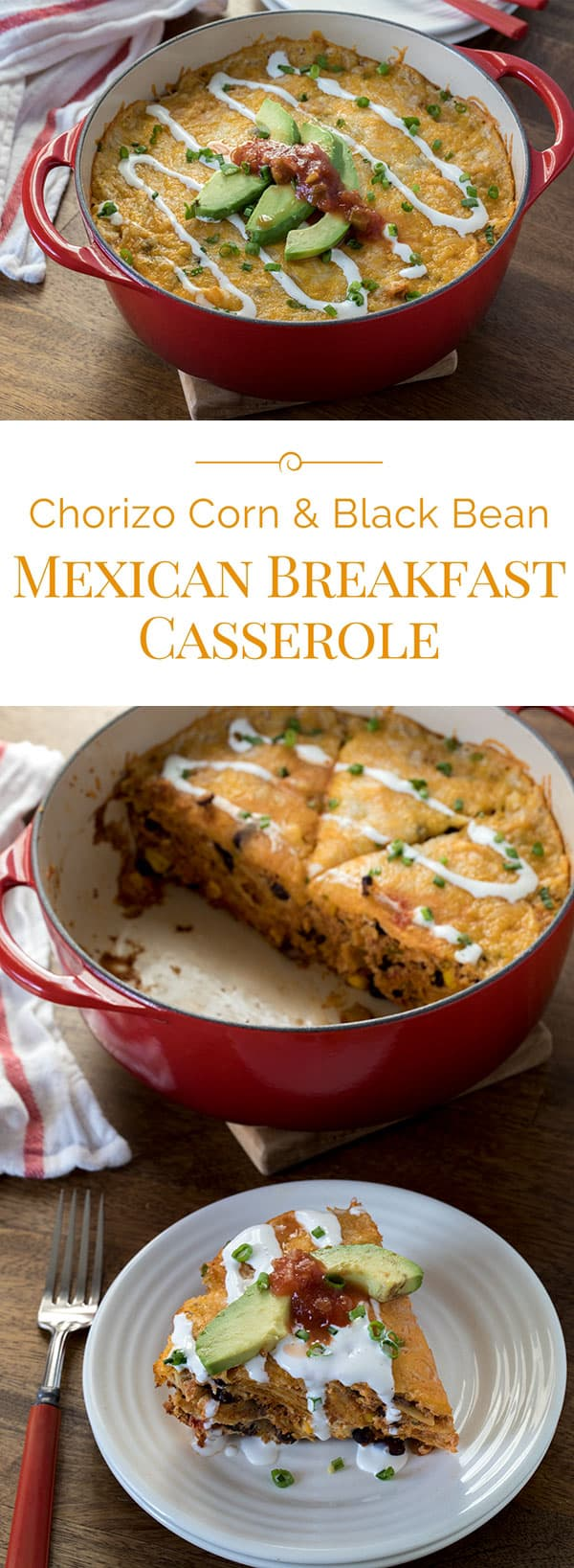 An easy-to-make breakfast casserole loaded with Mexican sausage, corn, black beans, tomatoes and chilies, and bite-size pieces of corn tortillas.