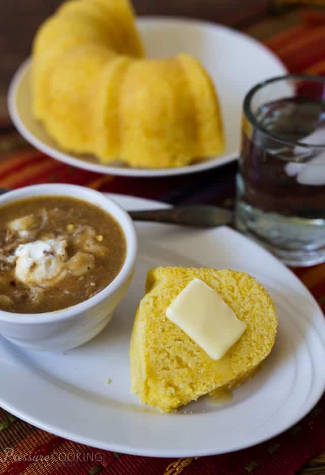 moist cornbread, made in a pressure cooker
