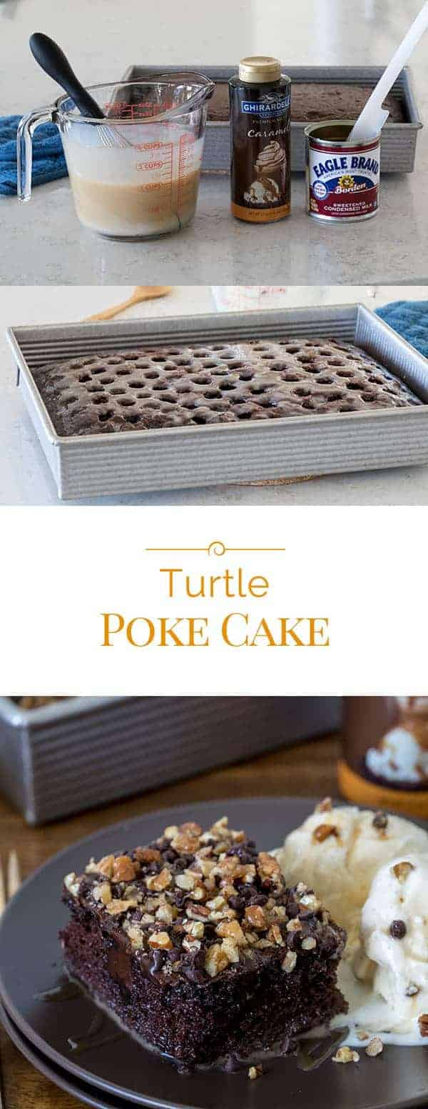 This decadent Turtle Poke Cake is a poke cake version of a Turtle candy. #pokecake #turtlecandy #cake