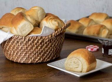 a basket of homemade Lion House Rolls