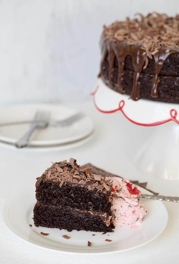 Triple Chocolate Layer Cake with Cherry Chocolate Chip Ice Cream