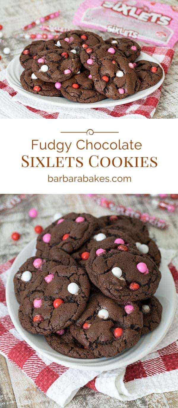 These Fudgy Chocolate Sixlets Cookies are a fun cookie for Valentine's day. They're loaded with chocolate chips and colorful Sixlets Candies.