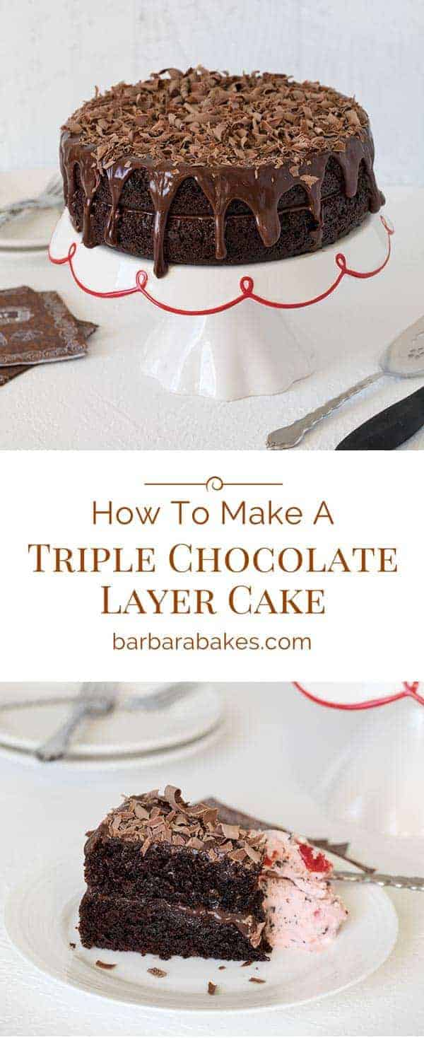 I'll show you how easy it is to make this triple chocolate layer cake.