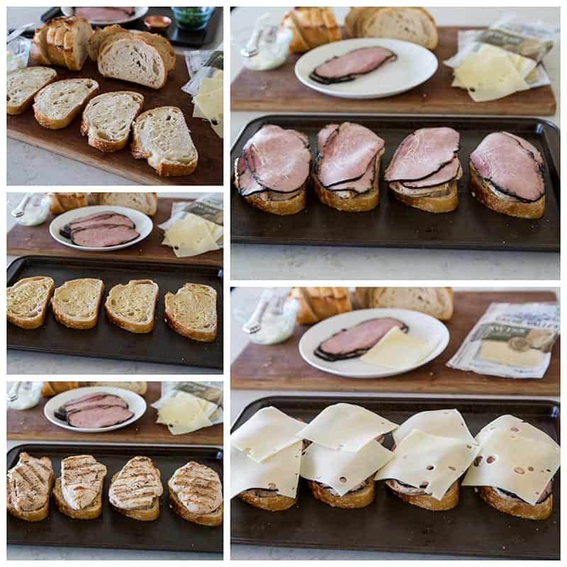 Step by step pictures of making Chicken Cordon Bleu Melts
