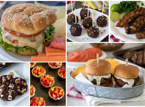 BBQ recipe ideas: chicken caprese burgers, s'mores cookies, fruit cups, brownie pops, pork tenderloin, sliders
