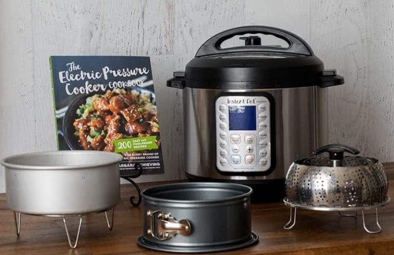 instant pot duo plus, the electric pressure cooker cookbook, and pressure cooking accessories