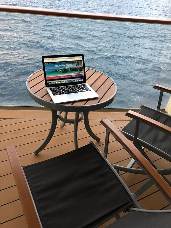 I loved working out on my beautiful balcony after a busy day touring the islands, and during the two relaxing days at sea.
