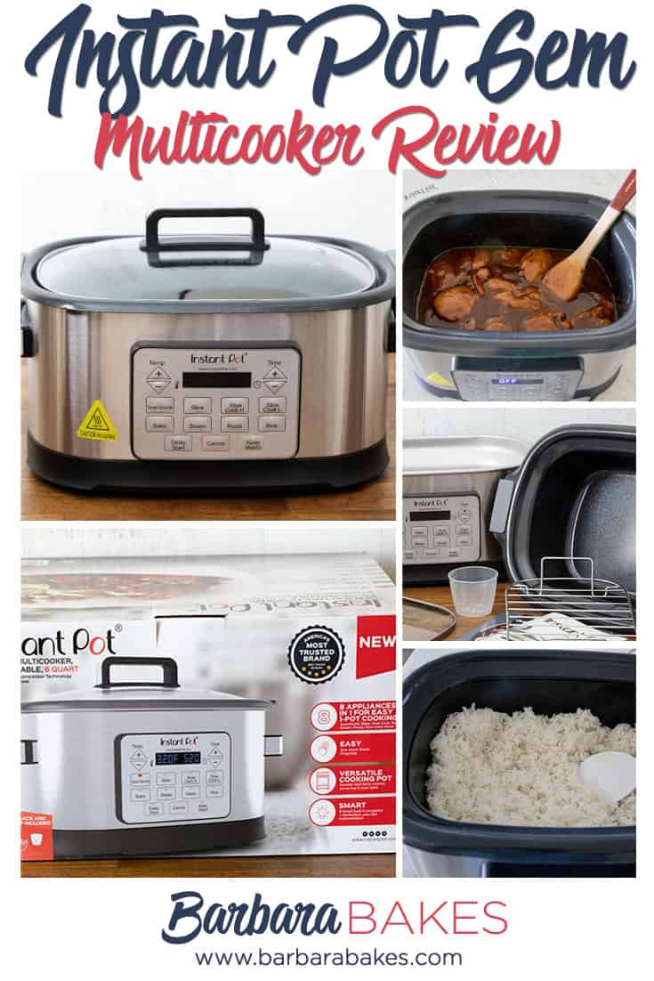 InstaPot Gem Multicooker Review - Pictures of the box, Gem, cooking chicken, cooking rice, and accessories
