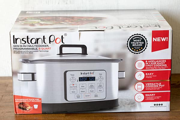 Instant Pot touts The GEM Multicooker as an 8-in-1 that can replace 8 commonly used kitchen appliances – Slow Cooker, Rice Cooker, Sauté/Searing Pan, Steamer, Stew, Roast, Baking, and Warmer.