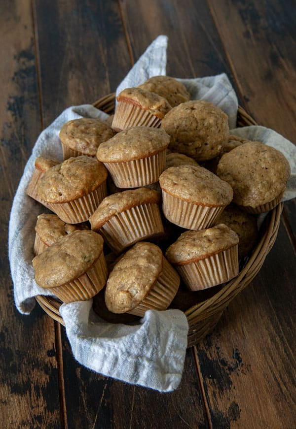 These Apple Pecan Banana Mini Muffins are a better-for-you muffin made with whole wheat flour, maple syrup, and hemp seeds for a little extra protein.