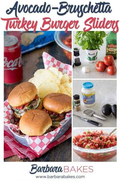 Bruschetta Turkey Burgers with Avocado Spread