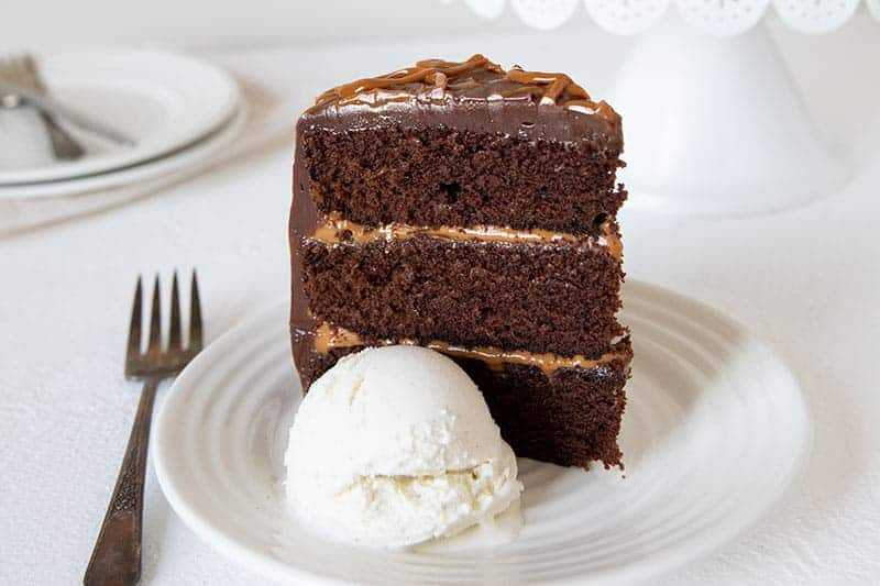 A rich, delicious, easy-to-make Chocolate Dulce De Leche Triple Layer Cake.