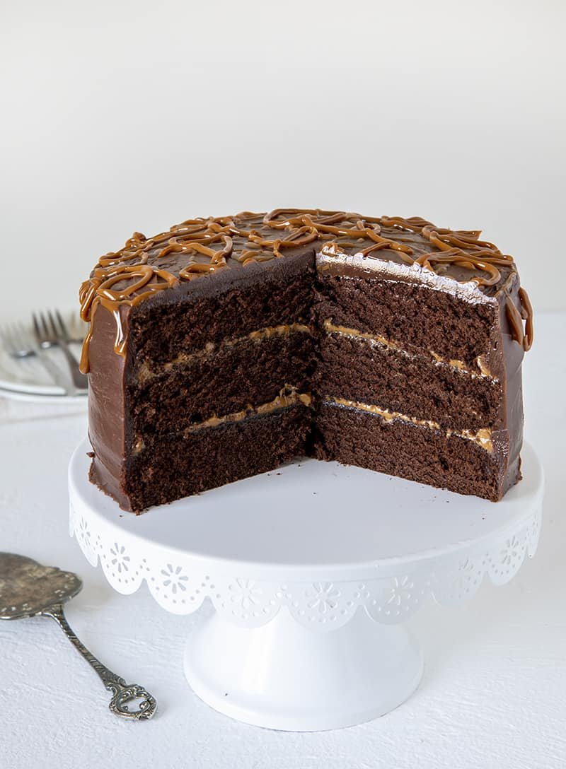 Triple Layer Chocolate Dulce De Leche Cake